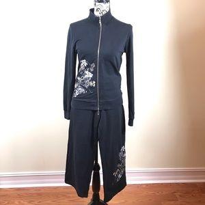 BCBG Women's Set : Hooded Jacket+Pant Black